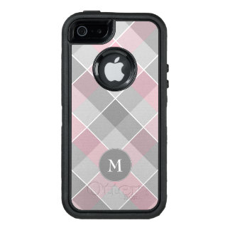 monogram on gray and pink plaid OtterBox defender iPhone case