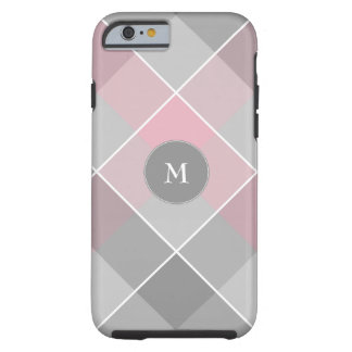 monogram on gray checkered plaid with pink tough iPhone 6 case