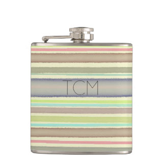 Monogram on hand painted watercolor stripes hip flask