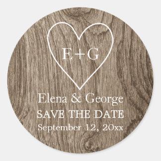 Monogram on heart wood wedding Save the Date Classic Round Sticker