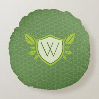 Monogram on Leaf Shield | Round Pillow