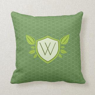Monogram on Leaf Shield | Square Pillow