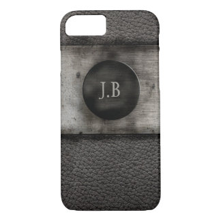 Monogram on Leather and rusted metal iPhone 8/7 Case