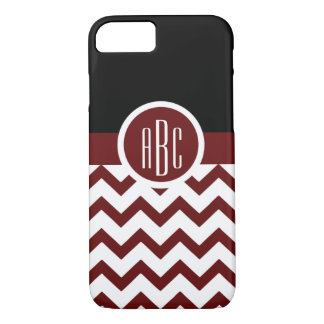 Monogram on Maroon and White iPhone 7 Case