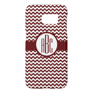 Monogram on Maroon and White Samsung Galaxy S7 Case