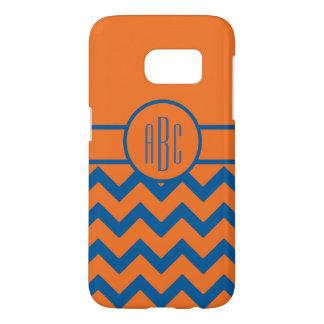 Monogram on Orange and Blue Samsung Galaxy S7 Case