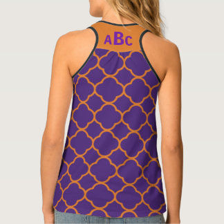 Monogram on Orange and Purple Quatrefoil Pattern Tank Top