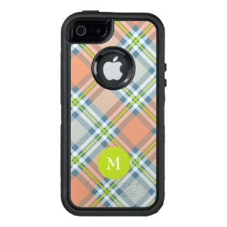 monogram on peach and blue with lime plaid OtterBox defender iPhone case