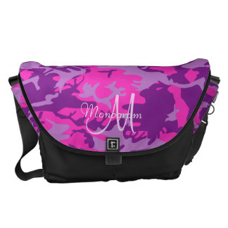 Monogram on Pink and Purple Camouflage Commuter Bag