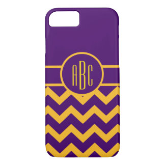 Monogram on Purple and Gold iPhone 7 Case