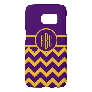 Monogram on Purple and Gold Samsung Galaxy S7 Case