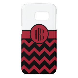 Monogram on Red and Black Samsung Galaxy S7 Case