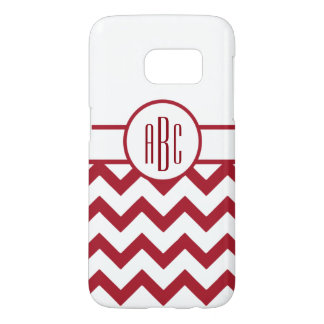 Monogram on Red and White Samsung Galaxy S7 Case