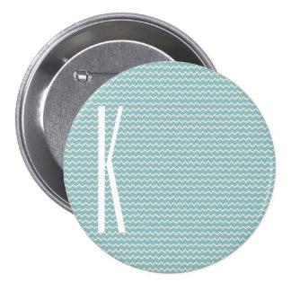 Monogram on Retro Blue Mini Chevron Pattern Pin