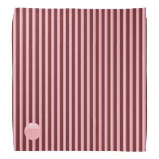 Monogram on rose pink disk and maroon stripes bandana