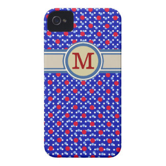 monogram on small polka dots Case-Mate iPhone 4 cases