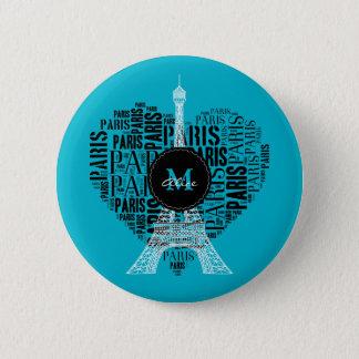 Monogram on Text Pattern Paris 2 Inch Round Button