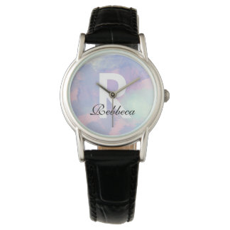 monogram on watercolor wrist watch