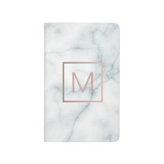 monogram on white marble journal