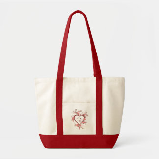 Monogram, Open Heart with Flowers Tote Bag