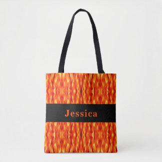 Monogram Orange Abstract Fire Tote Bag