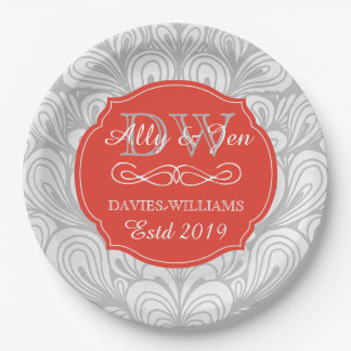 Monogram Orange Abstract Grey Lesbian Gay Wedding Paper Plate