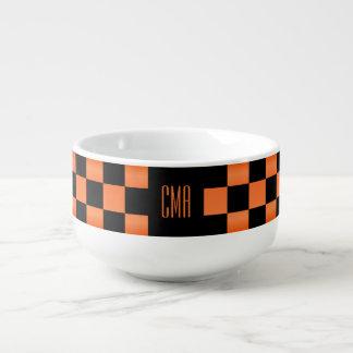 Monogram Orange and Black Checkered Squares Soup Mug