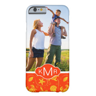 Monogram | Orange Beach Pattern Barely There iPhone 6 Case