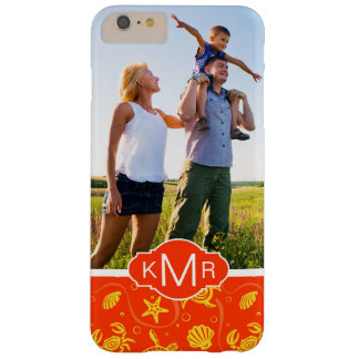 Monogram | Orange Beach Pattern Barely There iPhone 6 Plus Case