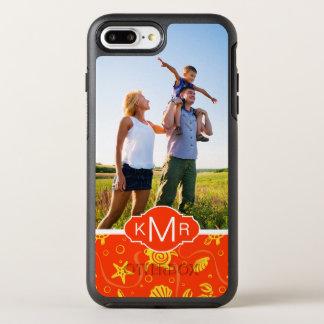 Monogram   Orange Beach Pattern OtterBox Symmetry iPhone 8 Plus/7 Plus Case
