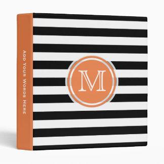 Monogram: Orange Black And White Stripe Binder