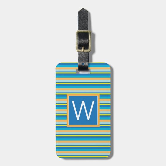 Monogram | Orange Blue Green Stripes Luggage Tag