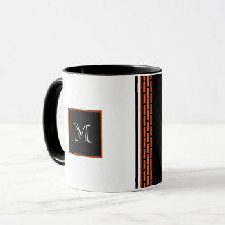Monogram Orange Bricks on Black and White Mug