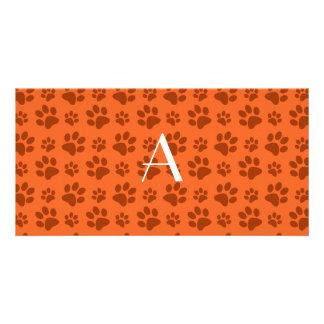 Monogram orange dog paw prints custom photo card