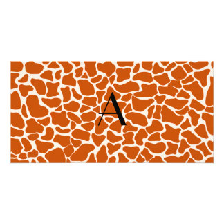 Monogram orange giraffe print picture card