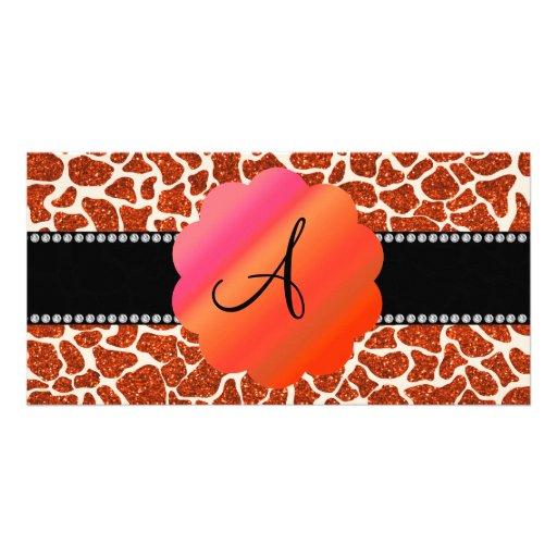 Monogram orange glitter giraffe print personalized photo card