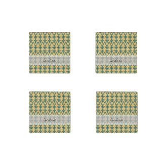 Monogram Orange Green Geo Ikat Decorative Pattern Stone Magnets