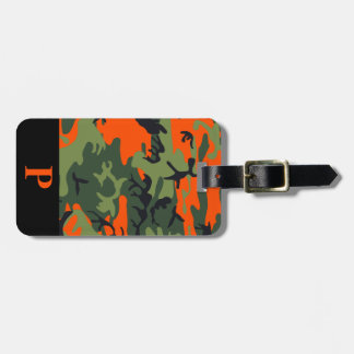 Monogram Orange Hunting Camo Camouflage Black Luggage Tag