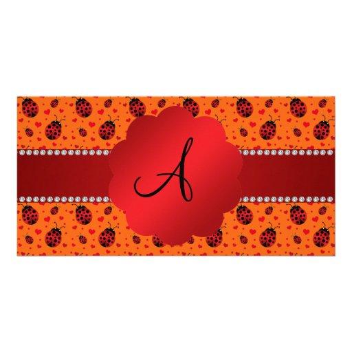 Monogram orange ladybugs hearts photo cards
