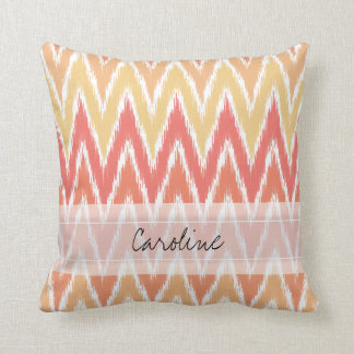 Monogram Orange Ombre Ikat Chevron Zig Zag Pattern Throw Pillow