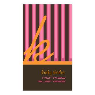 Monogram orange/pink/chocolate stripes business cards