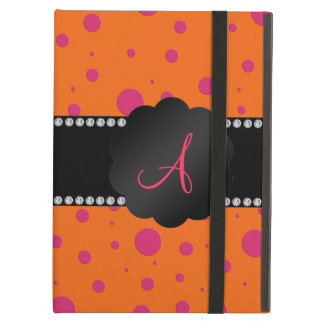 Monogram orange pink polka dots iPad air case