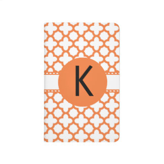 Monogram Orange Quatrefoil Pattern Journal