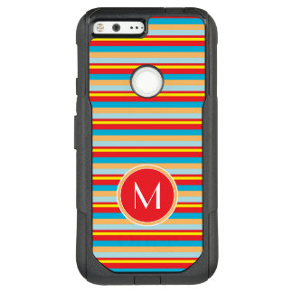 Monogram | Orange Red Blue Stripes OtterBox Commuter Google Pixel XL Case