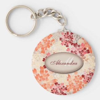 Monogram Orange Red & Cream Flowers Retro Keychain