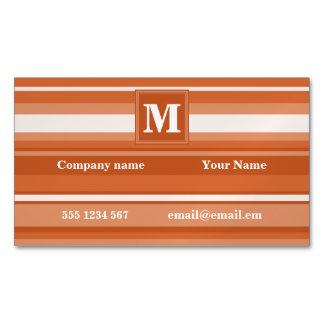 Monogram orange stripes business card magnet