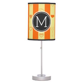 Monogram Orange Stripes Modern Heart Pattern Table Lamp