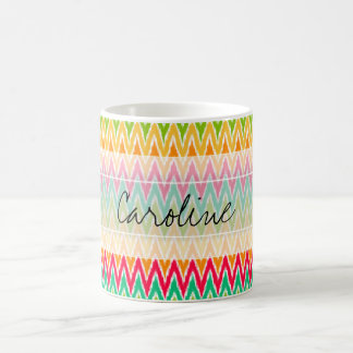 Monogram Orange Teal Ikat Chevron Zig Zag Pattern Coffee Mug