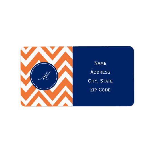 Monogram Orange Zigzag Pattern with Royal Blue Label