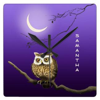 Monogram Owl Night Moon Blue Square Wall Clock